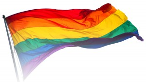 LGBT Rainbow flag blowing in the wind